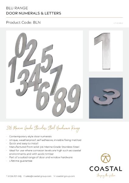 BLU™ - BLN Door Numerals Data Card