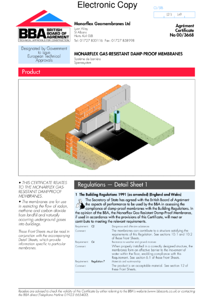 00/3668 Monarflex gas-resistant damp-proof membranes