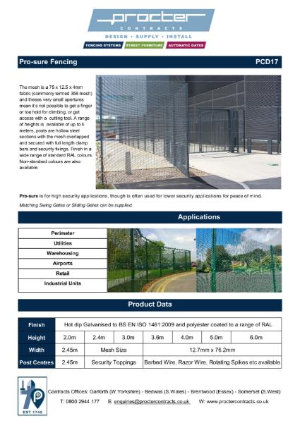 Pro-sure 358 Fencing