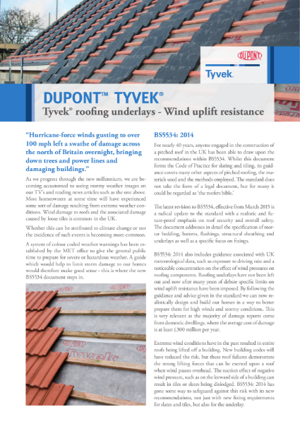 Tyvek underlays - BS5534 2015