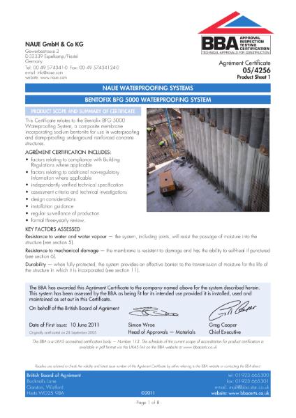 05/4256 Bentofix BFG 5000 Waterproofing System
