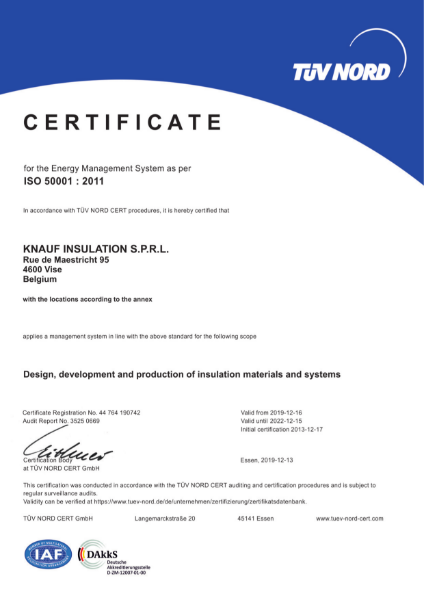 ISO 50001 Certificate