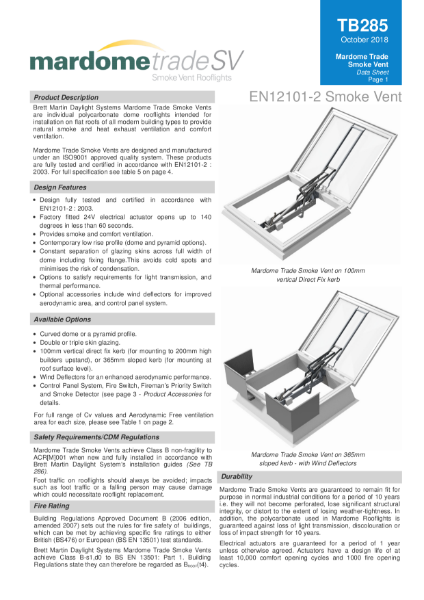 Smoke Vent System Rooflight - Mardome AOV Automatic Smoke Ventilation