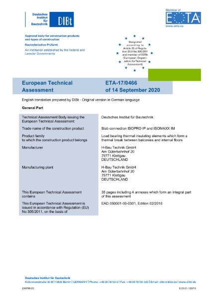 European Technical Assessment for ISOPRO - ETA-17/0466