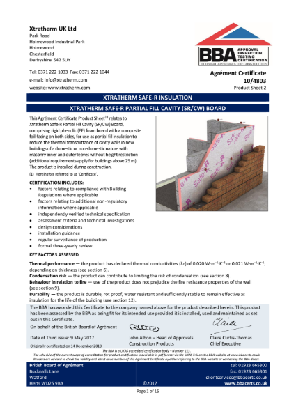 10/4803 Xtratherm Safe-R Partial Fill Cavity (SR/CW) Board (Product Sheet 2)