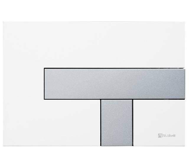 TRF0428L Multikwik Flush Plate - Telesto (White Base Plate and Matt Chrome Button Finish)