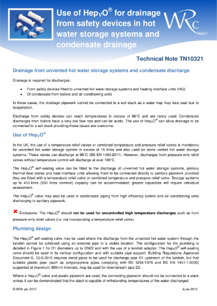 TN 10321 - Condensate drainage and unvented hot water systems