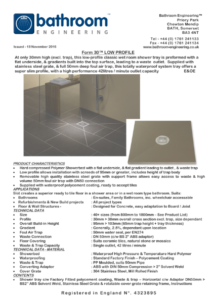 Shower Tray - Form 30