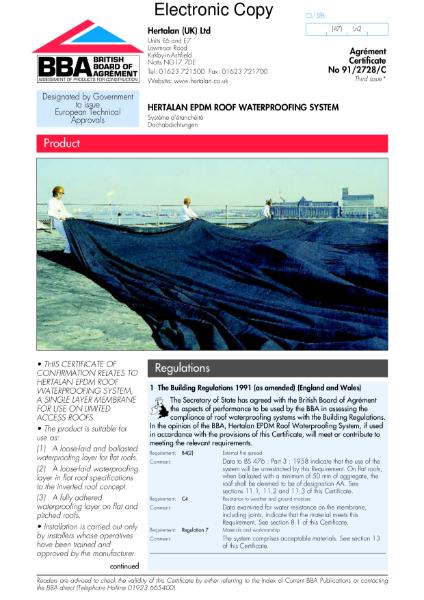 91/2728 Hertalan EPDM roof waterproofing system