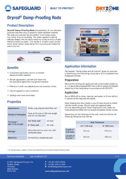 Dryrod Damp-Proofing Rods Data Sheet