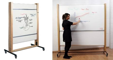 Sundeala TeacherBoards Rollerboard - Wooden Framed Mobile Dry-Wipe Rolling Sheet Writing Surface
