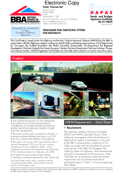 Stratagem thin surfacing system for highways