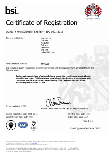 Inverness ISO 9001:2015 QMS Certificate SterlingOSB