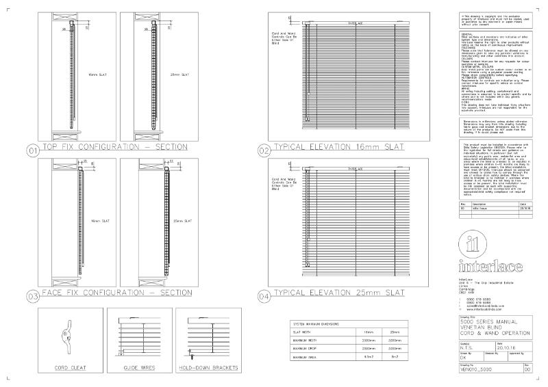 5000 Series Venetian Blind - Drawing Manual Cord