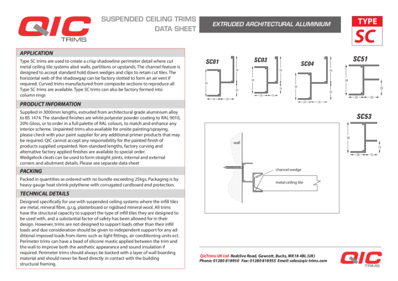 QIC Shadow gap perimeter trims, metal ceilings