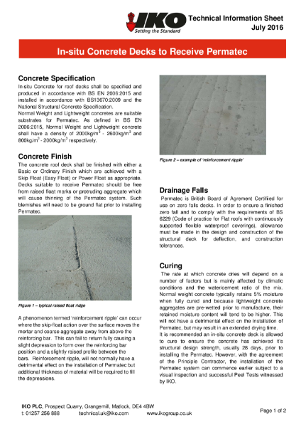 IKO Permatec Hot Melt In-situ Concrete Decks to Receive Technical Data Sheet