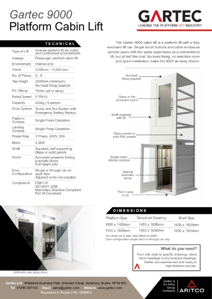 Gartec 9000 Cabin Platform Lift