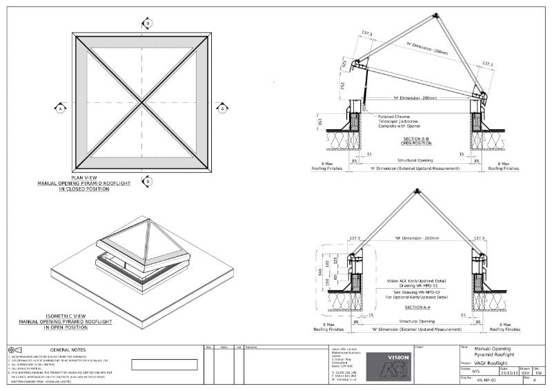 Manual Opening Pyramid Rooflight