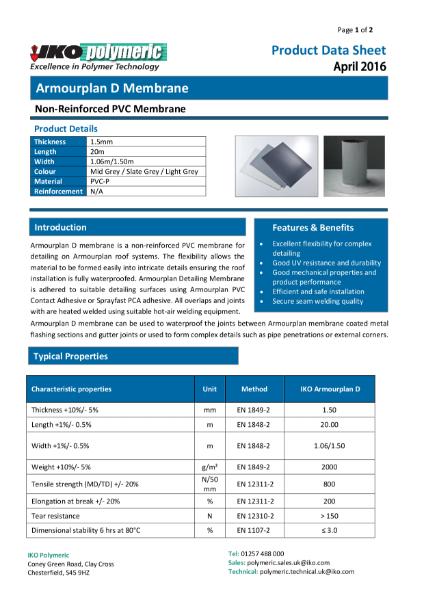IKO Armourplan D PVC Single Ply Flat Roof Membrane datasheet