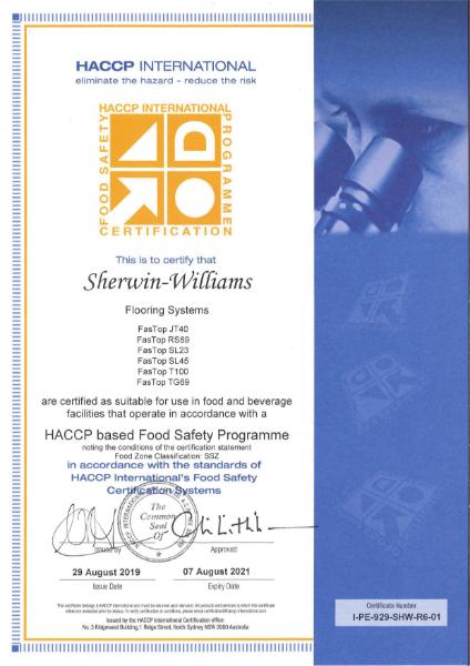 Sherwin-Williams standards certification - HACCP International