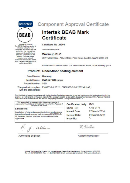 Intertek BEAB Mark Certificate (Underfloor heating element)