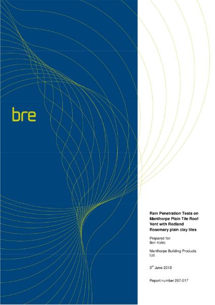 Manthorpe Plain Tile Vent - BRE Wind Tunnel Test Report No. 287-217
