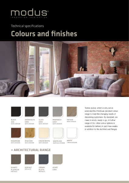 Modus Colours and Finishes Technical Specification