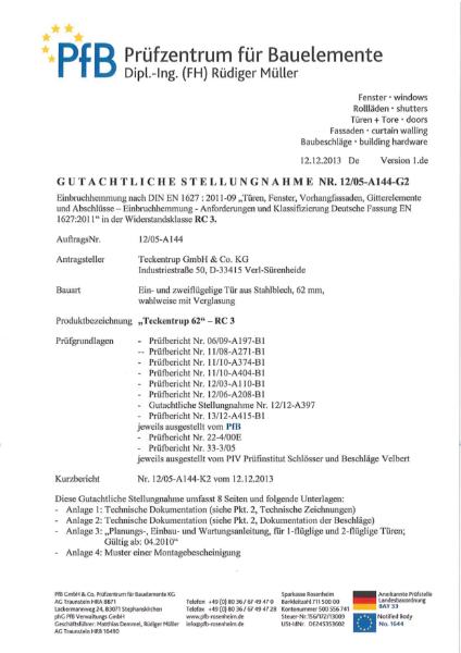 T60 FSA 62 EN1627 RC 3