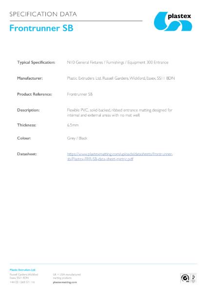 Frontrunner SB Specification Data