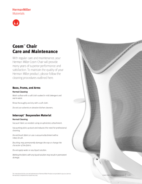 Cosm Chair Care and Maintenance
