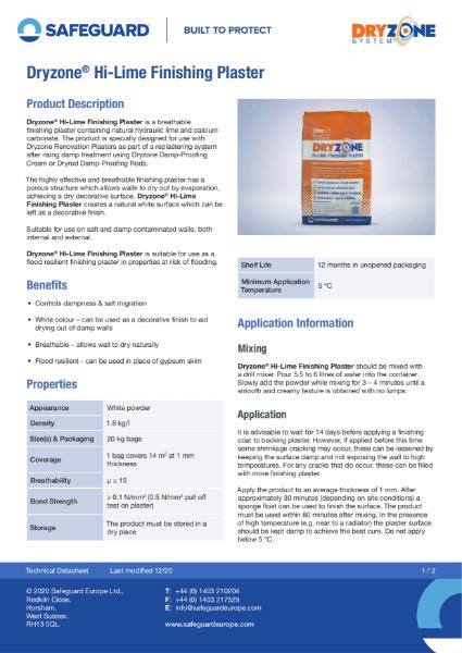 Dryzone Hi-Lime Finishing Plaster Data Sheet