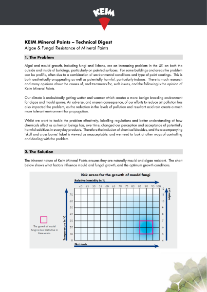 Technical Digest - Algae & Fungal Resistance of Mineral Paints