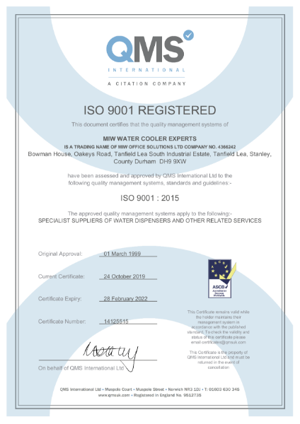 MIW Water Cooler Experts - ISO 9001 - Certification