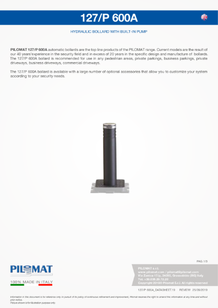Macs 127/P600 Automatic Security Bollard Data