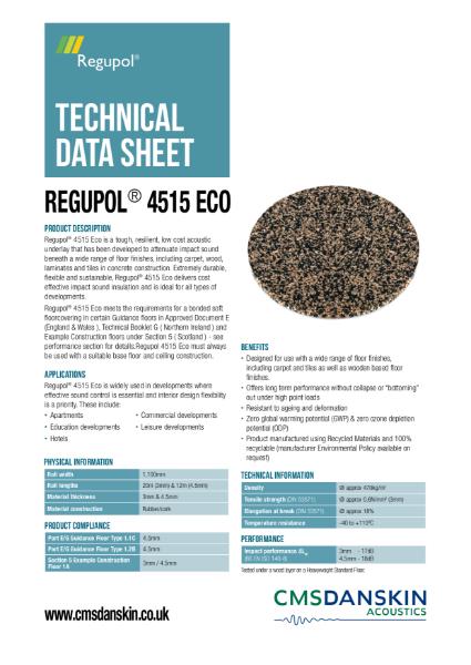 CMS Danskin Acoustics Regupol 4515 Eco TDS