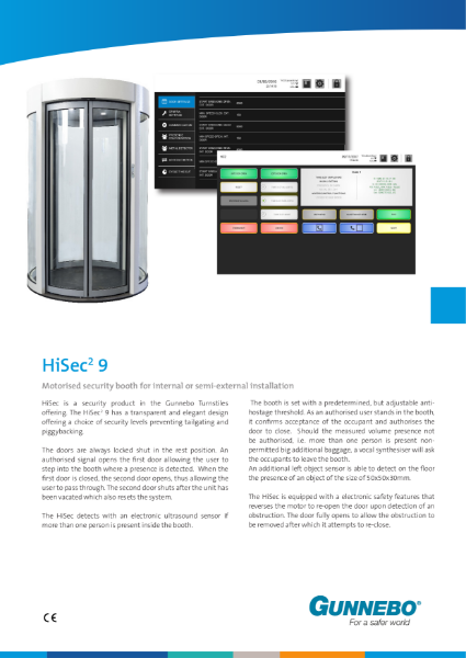 Motorised security booth (900 clear opening) for internal or semi-external installation - HiSec 9