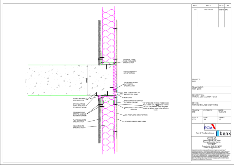DensGlass Typical Deflection Head Technical Drawing - DH01