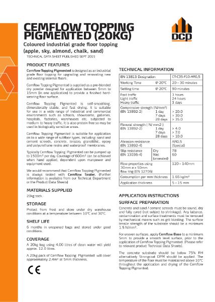Cemflow Topping Pigmented 20kg September 2015