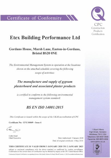 Etex ISO 14001 Certificate+Schedule 049 Issue 4