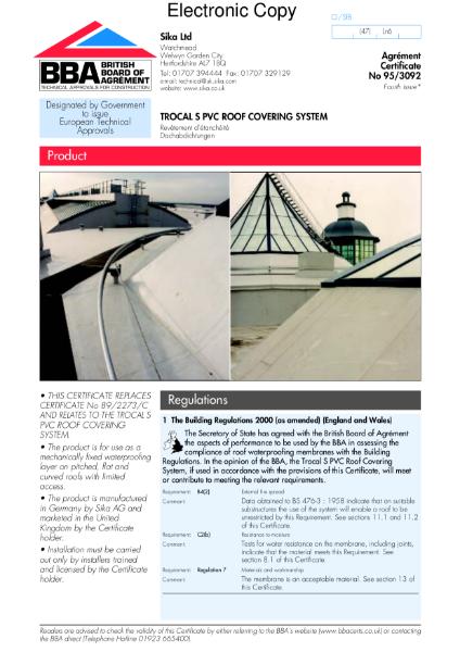 Trocal S PVC roof waterproofing membrane