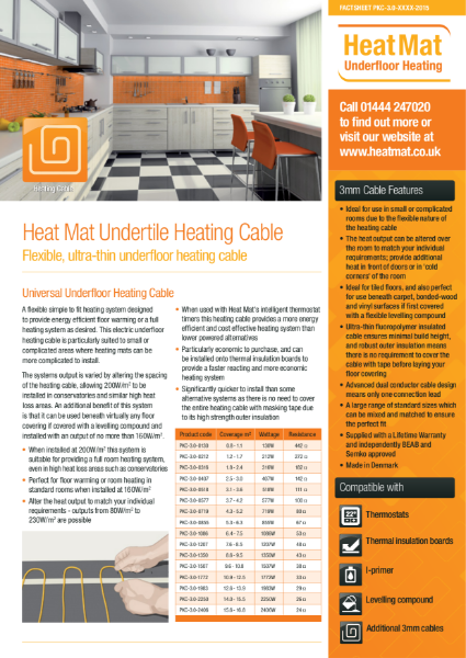 3mm Underfloor Heating Cable Datasheet