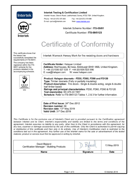 Halspan Intertek Certificate of Conformity