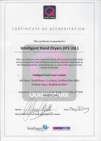 Quiet Mark Certificate 2019/2020