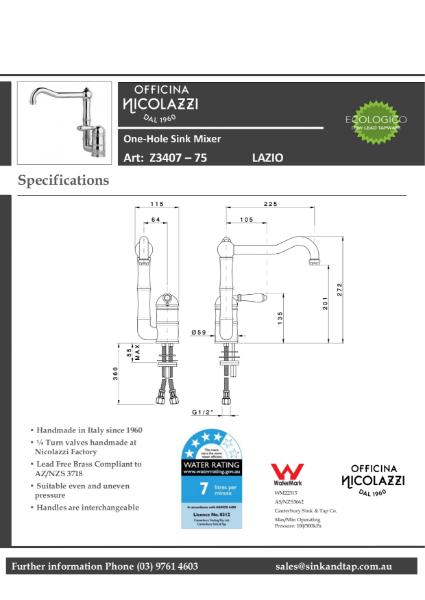 Z3407-75 Lazio technical specification.