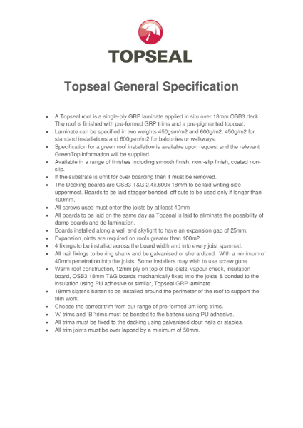 General Specification - Topseal (GRP) Fibreglass Flat Roofing Systems
