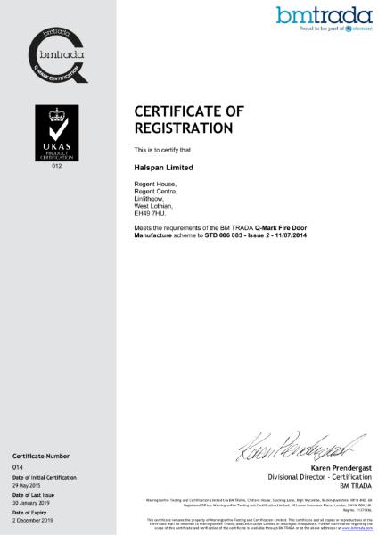 Halspan Q-Mark Fire Door Certificate
