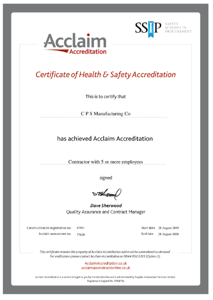 SSIP Acclaim Accreditation For CPS Manufacturing