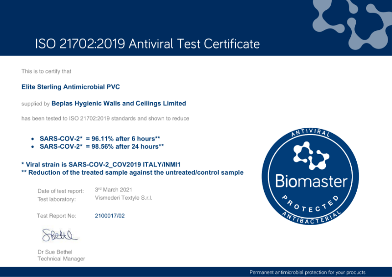 Addmaster Test Cert (Antiviral) ISO21702 - SARS-COV-2 - Beplas Hygienic Walls and Ceilings Limited