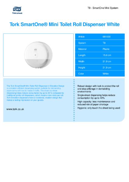 Tork Smartone Mini  Twin Toilet roll dispenser (White)