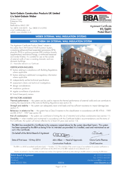 91/2691 Weber.Therm XM External Wall Insulation System (Product Sheet 2)